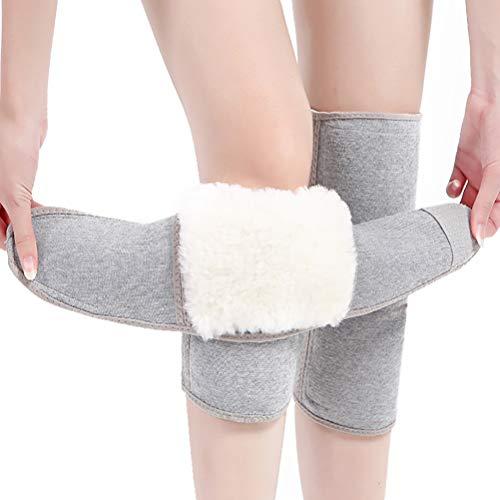 WIDG Unisex Wolle Knieschützer Plüsch Linging Einstellbare Kniestütze Protector Knieschützer Wraps für den Winter, 1 Paar