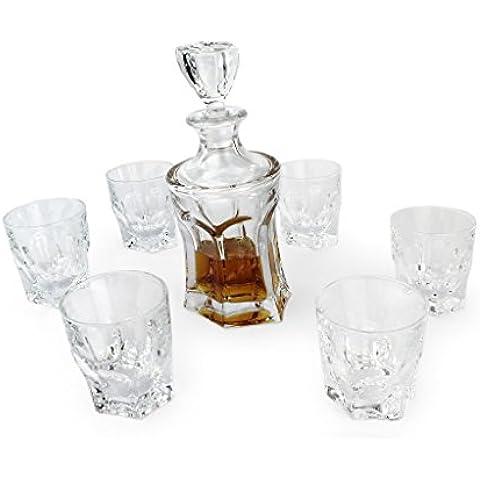 A.P. Donovan - 7 pezzi - da whisky decanter e 6 bicchieri di corrispondenza (senza piombo) Caraffa con coperchio ermetico - circa 700ml - Pisa