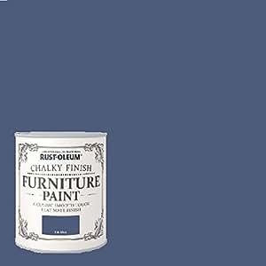 Rust Oleum Chalk Chalky Furniture Paint Ink Blue 750ml