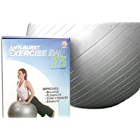 Anti Burst Yoga Ball 75 cm with Hand Pump. 600 lbs capacity. Best quality. GS approved. (Colour May Vary)