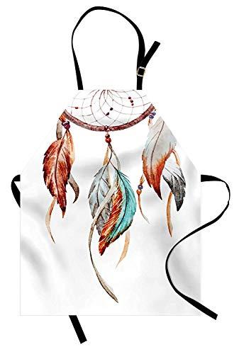 (Soefipok Federschürze, Aquarell Dream Catcher Indianerinspirationen Traditionell, Unisex-Küche Latzschürze mit verstellbarem Hals zum Kochen Backen Gartenarbeit, Burnt Sienna Seafoam Grey)