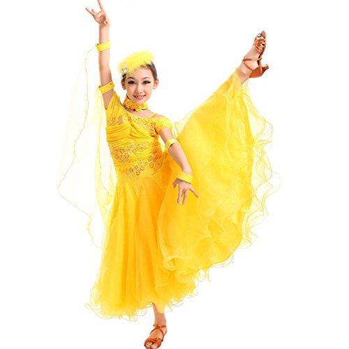 Halloween Kostüme Soziale (Wgwioo Kinder Moderne Soziale Diamant Ballroom Dance Kleid . Yellow .)