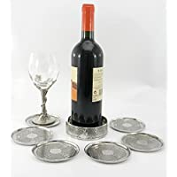 CAVAGNINI Coaster and 6 coasters in pewter. Grat Christmas Gift Handmade with Italian craftsmanship from Cavagnini