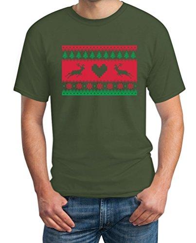 Weihnachtliches Rentiermotiv T-Shirt Olivgrün