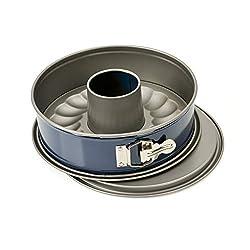 Kaiser Energy Springform, mit Flach- und Rohrboden Ø 26 cm, 2 Böden, runde Backform, auslaufsicher, antihaftbeschichtet, 30% kürzere Backzeit, blau/grau