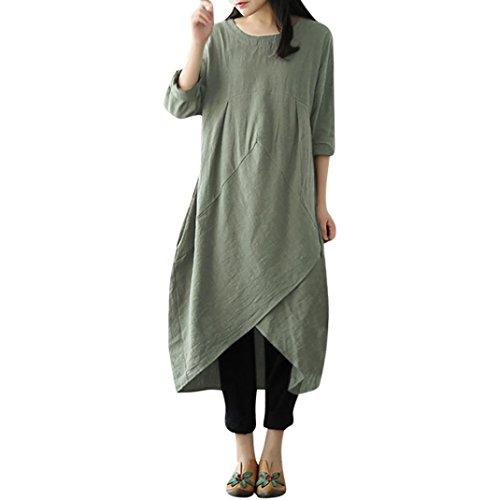 MRULIC Maxi Dress Womens Vintage Lange Tunika Baggy Long Plus Size Leinentuch Religiöse Feiertag Kostüm(Grün,EU-42-46/CN-XL) (T-shirt Cap Womens Sleeve Wahl)