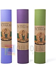 Esterilla de yoga, antideslizante toallas y bloques ejercicio Fitness Workout–Esterilla, antideslizante respetuoso con el medio ambiente de alta calidad, Yoga mat - Purple