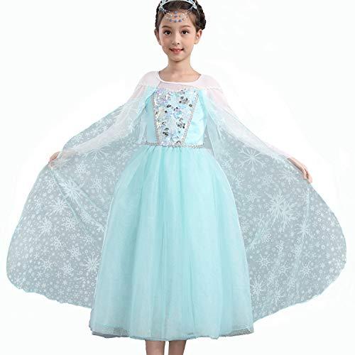 Yeesn Mädchen Anna ELSA Kostüm Kleid mit Schneemuster, Umhang für Prinzessinnen-Party, Cosplay, Weihnachten, Outfit (Sonne Kostüm Kleinkind)