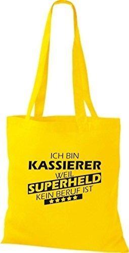 Shirtstown Stoffbeutel Ich bin Kassierer, weil Superheld kein Beruf ist gelb