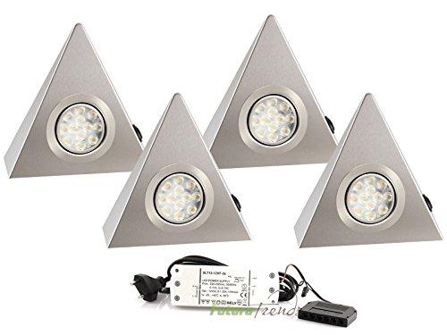 4er Set LED Dreieckleuchte Unterbauleuchte Edelstahl 3W HIGH LED SMD Warmweiß mit Schalter an jeder Leuchte