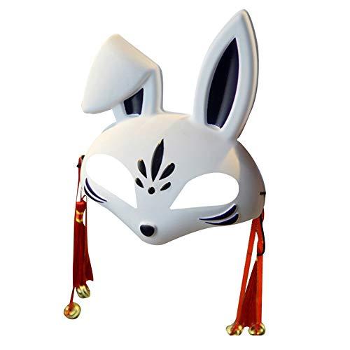 Bunny Dance Kostüm - Iswell Bunny Halloween Halbe Gesichtsmaske, Bunny Maske Halbes Gesicht Cosplay Maske Halloween Maskerade Kostüm PVC Street Dance Maske Halloween Halbe Gesichtsmaske