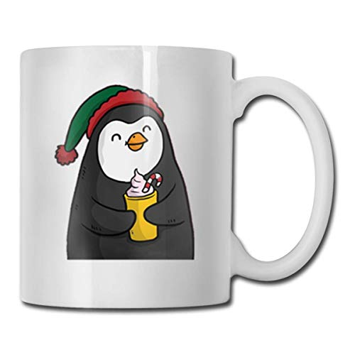 Daawqee Becher Coffee Mug Nice-Cartoon-Christmas-Penguin Mug Funny Ceramic Cup for Coffee and Tea with Handle, White