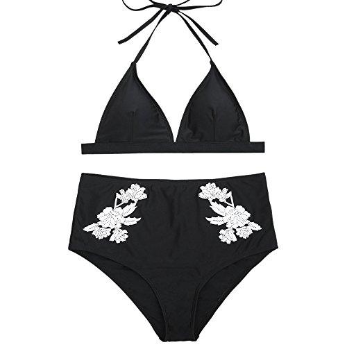 Mymyguoe Sexy Bikini Bademode Bandage Neckholder Vintage Seitlich Gebunden Bikini-Sets Bademode Hohe Taille Drucken Bikinihosen Badeanzug Zweiteilige Push-up Bikinioberteil mit Nackenträger