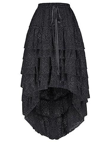 Femmes Jupon Style Année 50 Robe Basque Dentelle Vintage Steampnk Robe Noir Taille L FR221-1