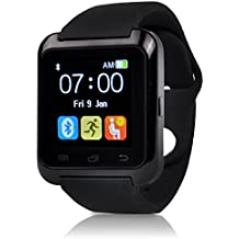 U80 Plus Bluetooth 4.0 Smart Wrist Wrap Watch Phone with Comfortable Watch Strap for Smartphones IOS Android Apple iphone 5/5C/5S/6/6 Puls Android Samsung S3/S4/S5 Note 2/Note 3 Note 4 HTC Sony (U80 Plus Black), [Importado de UK]