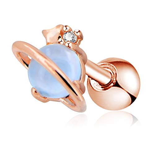 OUFER Cartilage Bar 16G Surgical Steel Air Blue Opal Stone Saturn Helix Tragus Earrings Piercing Jewellery(Rose Gold)