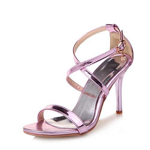 fd6a6995 Sandalias de tacón Alto para Mujer Zapatos de Fiesta de Verano Brillante para  Mujer Boda con