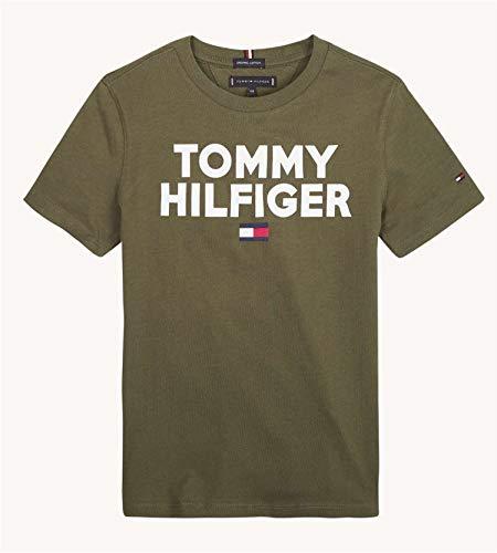 Tommy Hilfiger Jungen Logo Tee S/S T-Shirt, Grün (Olive Night 399), 140 (Herstellergröße:10)