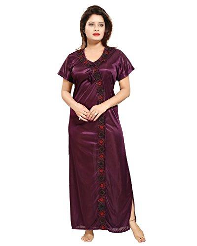 Tucute Women Satin Night Gown (Wine) (Free Size) D.No.1242