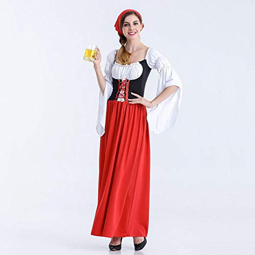 NGHJF Bayerisches Bier mädchen kostüm Oktoberfest Festival Karneval Party Fancy Long Dress Maid kostüm Erwachsene Frauen Cosplay - Einzigartige Ideen Für Fancy Dress Kostüm