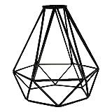 GfEU - Pantalla de lámpara colgante de metal industrial envejecido E27 con forma de jaula geométrica para el techo, para la oficina, el hogar, el dormitorio, la cocina