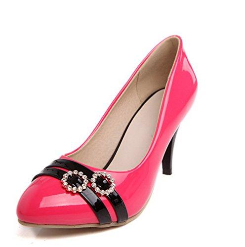 AllhqFashion Damen Rund Zehe Stiletto Gemischte Farbe Ziehen Auf Pumps Schuhe Rosa