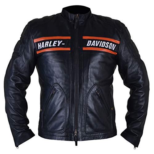 LeatherTrendz WWE Goldberg Giacca da Motociclista per Uomo in Vera Pelle Giacca WWE Superstar (XS a 5XL) (XL (Segui la Tabella delle Taglie))
