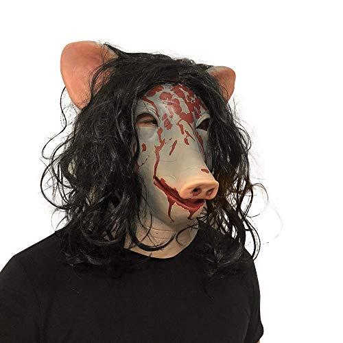QWhing Festival-Maske Kettensäge Cry Simulator Amanda Schwein Kopf Maske Halloween Horror Bloody COS Film Head Cover Kostüm ()