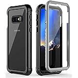 Samsung Galaxy S10E Case, S10e 5.8 inch Phone Case Built-in Screen Protector Cover Full-body Rugged Clear Bumper Case for Galaxy S10e 2019(Black/Clear)