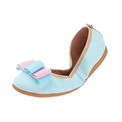 AllhqFashion Femme Rond Non Talon Matière Souple Couleur Unie Tire Chaussures à Plat Bleu