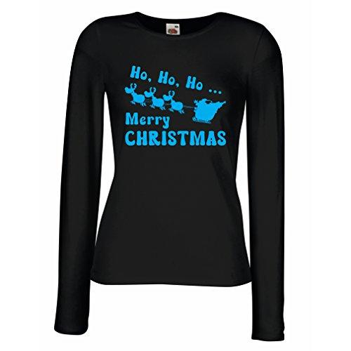 Maniche lunghe femminili T-shirt regalo di Natale idee regalo Natale Nero Blu