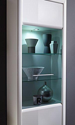 5-tlg. Wohnwand in Hochglanz weiß/Abs. aluminiumfarben, mit LED-Beleuchtung, Stauraumelement, 2 Wandboards, TV-Bank, Vitrine, Gesamt: B/H 338/201 cm - 5
