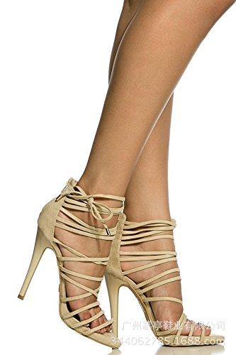 Moda degli alti con tacco Pure Color piede ad anello Moda Sandali con tacco sandali di colore puro Roma White