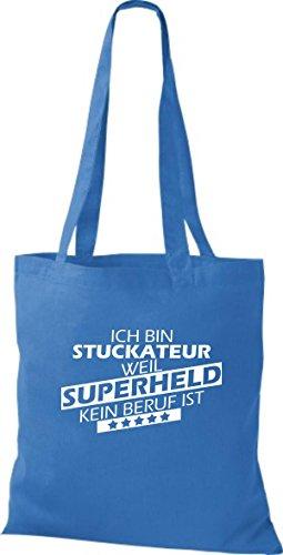 Shirtstown Stoffbeutel Ich bin Stuckateur, weil Superheld kein Beruf ist royal