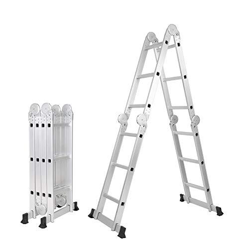soges 3.7 m Escalera multiusos Escalera plegable Escalera de aluminio Extensible y versátil KS-JF-403G