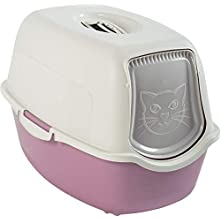 Rotho Bailey - Lettiera per Gatti con Coperchio, Plastica (PP) Senza BPA, Rosa/Bianco, 55.5 x 40 x 38.7 cm