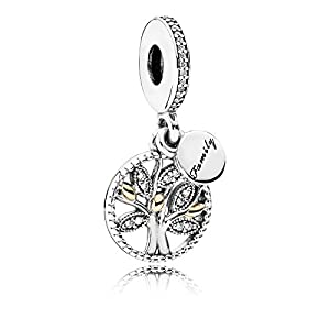 Pandora Damen-Charm Familien Stammbaum Silber vergoldet Zirkonia transparent Brillantschliff – 791728CZ