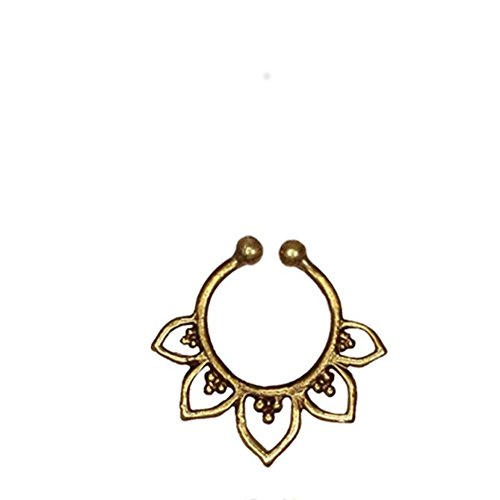 Fake Septum Piercing golden antik glänzend Blütenblatt Kugeln Messing