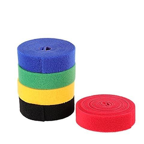 Ledmomo réutilisable câble Sangles Attaches de câble Crochet Boucle pour cordons de gestion des câbles–5Rouleau totalement 10,1m