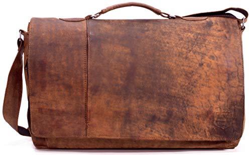 SYMPHONIE WESTERWALD Herren Umhängetasche Unitasche Notebooktasche Laptoptasche Aktentasche Bürotasche echt Leder Vintage