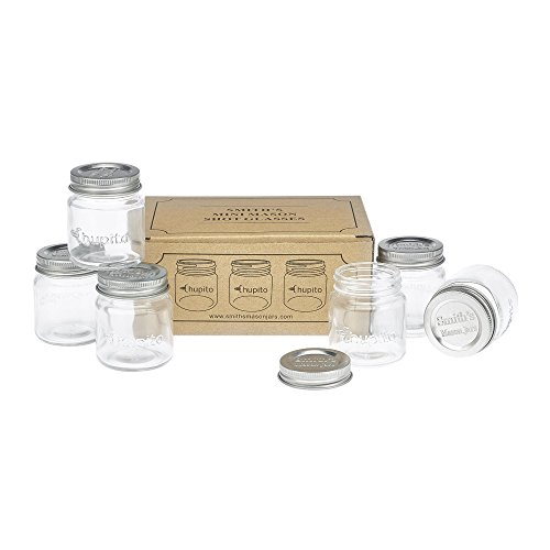6 Chupito Mini Mason Jar Shot Glasses with Lids By Smith's Mason Jars - 60ml ...