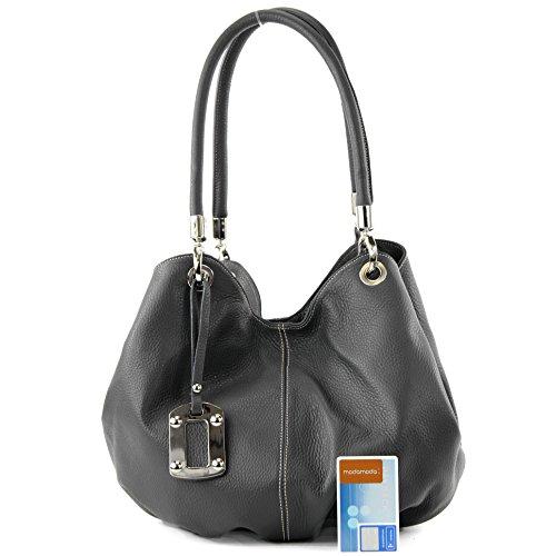Ledertasche Damenhandtasche de Anthrazitgrau modamoda 228 Schultertasche ital Beuteltasche Leder qfEW7R4