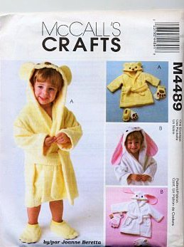 McCall's 4489 Joanne Berreta Toddlers Robes, Bath Mitt and Slippers Sewing Pattern by McCall's Toddler Mitt