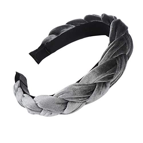 Zegeey Damen Stirnband Samt Braid Frauen Einfarbig Haarschmuck Haargummis Haarband Verfassungs Partei Headwear(Grau)