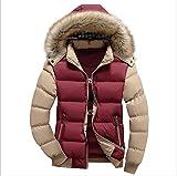 Warm Gesteppter Wintermantel Pelzkragen mit Kapuze Daunenjacke Oberbekleidung für Männer und Frauen,Redyellow,XXXXL