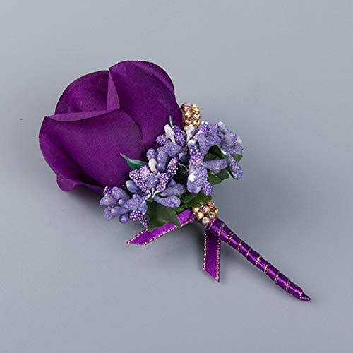 ECMQS 1 Stück Hochzeit Seide Blumen Boutonniere Braut Corsage Ansteckblume Bräutigam Boutonniere Brosche Pin