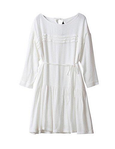 PU&PU Robe Aux femmes Gaine Simple / Street Chic,Couleur Pleine Col Arrondi Au dessus du genou Coton WHITE-M