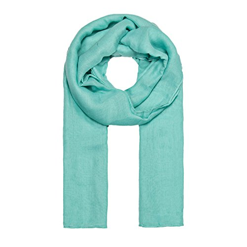 MANUMAR Schal für Damen einfarbig | Hals-Tuch in Türkis als perfektes Sommer-Accessoire | Klassischer Damen-Schal | Stola | Mode-Schal | Geschenkidee für Frauen und Mädchen