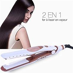 Fer à lisser vapeur, 2 en 1 Tourmaline Professionnel Vapeur Lisseur et Boucleur Pour Cheveux Soyeux Brillants, Soin des Cheveux