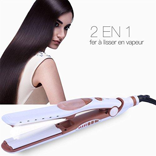 Plancha de cabello con vapor, 2en 1plancha profesional de vapor para alisar el cabello con vapor y rizadores para cabello sedoso y brillante, cuidado del cabello